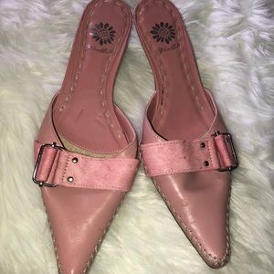 Yellow Box Pink leather and suede Mules
